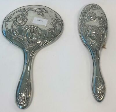 Silver Plated Hand Brush And Mirror Vanity Floral Vintage beauty