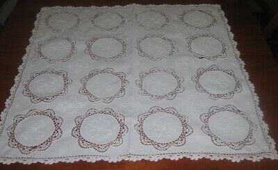 Vintage Embroidered/Lace Supper Cloth/Cutter ~ White ~ Square