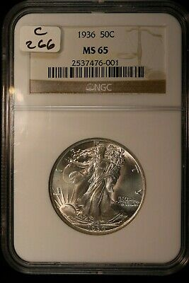 "1936 Walking Liberty Half Dollar NGC MS 65         ""BIDDING STARTS AT $9.00"""
