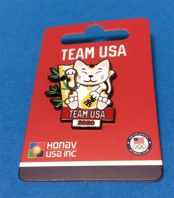 Tokyo Japan 2020 Summer Olympics Team Usa - Lucky Cat With Waving Hand 3-D Pin