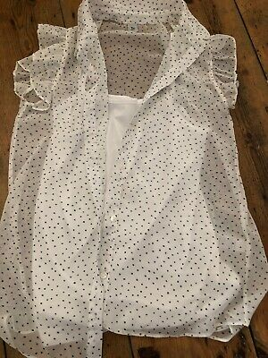 Girls Blouse And Vest Top White Woth Black Spots No Sleeves Age 11 Years
