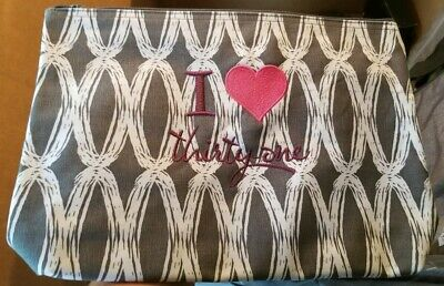 ThirtyOne LARGE ZIPPER POUCH Grey Links I Heart thirtyone Teacher Nurse Mom Gift