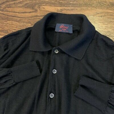 BRIONI Men's Navy Quarter Button 70% Cashmere 30% Silk Sweater Size 50 Dark Blue