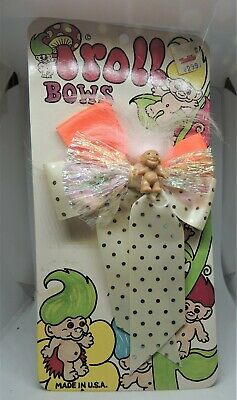 FOUR (4) TROLL HAIR CLIP with Troll and Bow  U.S.A. Vintage RARE New