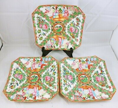 "Vintage Antique Chinese Famille Rose Medallion Octagon Plate 9 3/4"" lot of 3"