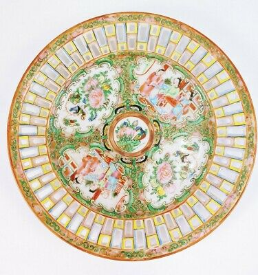 Antique Chinese Famille Rose Medallion Reticulated Pierced Porcelain Plate #2