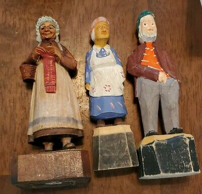 Vintage Wooden Hand Carved Painted Old Man Lady Figures