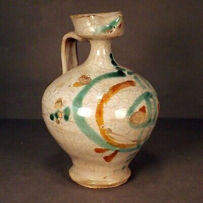 Old Antique Chinese Brown Green White Crackle Glaze Pottery Wine Pot Ewer Vessel