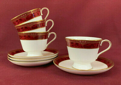 SPODE BORDEAUX 4 x TALL TEACUPS & SAUCERS - BRAND NEW/UNUSED made in England