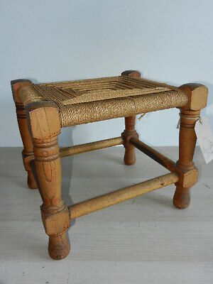 Antique carved oak & seagrass rustic stool