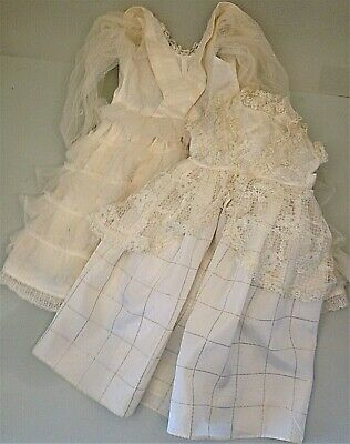 "Two old vintage dolls Wedding dresses for 20"" - 51 cm height."