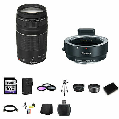 Canon EF 75-300mm f/4-5.6 Lens w/EF-M Adaptor for EF/EF-S Lenses 16GB Package