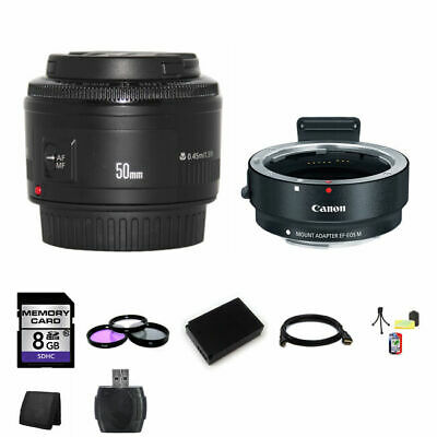 Canon EF 50mm f/1.8 II Lens w/EF-M Adaptor For EF/EF-S Lenses 8GB Package