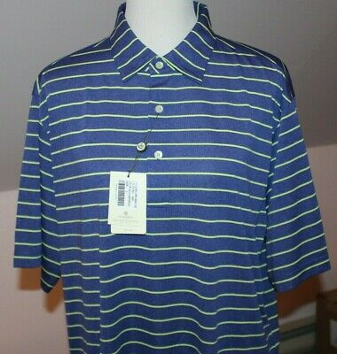 Donald Ross 2020 Golf Polo Shirt Navy Blue Chartreuse Sport Stripe Large NEW