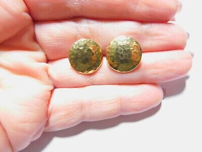 Hammer Textured Gold Tone Metal Button Pierced Earrings Vintage