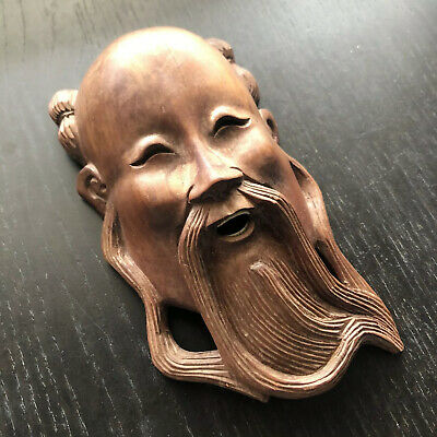 Antique Chinese Carved Rosewood Wood Scholar Art Bearded Wise Man God Deity