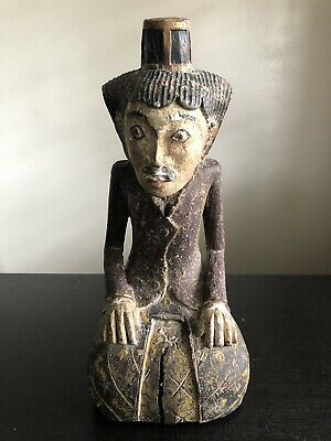 Antique Balinese Indonesian Thai Carved Painted Wooden Man Sword Art Sculpture