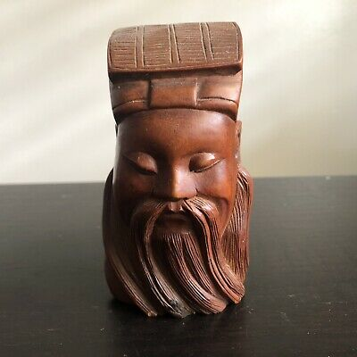 Fine Old Chinese Carved Wooden God Deity Head Figure Scholar Art SIGNED