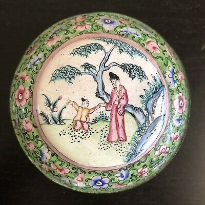 Fine Antique Chinese Canton Enamel Lidded Box Painted Figures Landscape Art NICE