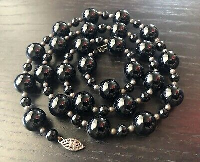 VTG Antique Chinese Black Onyx Stone & Silver Beaded Necklace Scholar Art NR