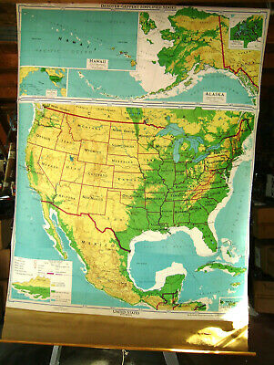 Antique USA and Mexico Map w/ AK & HI Vintage Pull Down School Map Wall Hanging