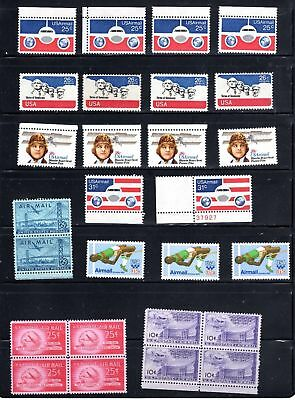 Lot Of 27 Airmail Stamps - 2 Blocks Of 4, One Pair & 17 Single Sta,Ps - Og - Mnh