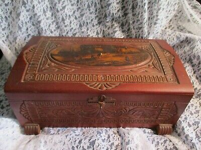 Vintage/Antique Hand Carved Wooden Chest with Brass Handles and HInges