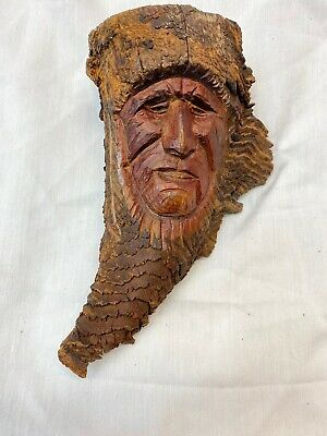 Native Indian Hand carved Wood Horn Indian Chief Marked TF Or FT