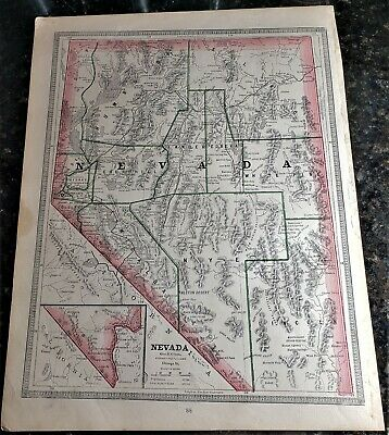 Original 1883 Color  Map Of Nevada  From Crams  Atlas Of The World