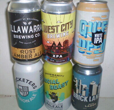 SIX craft beer cans  -  Australian