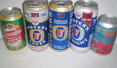 Five collectible beer cans  Fosters export etc.
