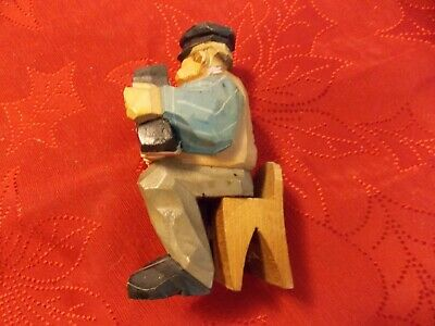 Carved Wood Flat Plane Caricature Sitting Man With Accordion, Sweden Dated 1954