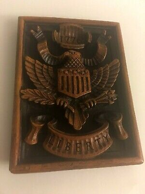 Vintage American Eagle Wood Wall Plaque Hanging Carved 6 x 8""