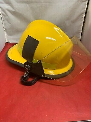 Firefighting Helmet Fire Rescue Cairns Metro 660C With Face Shield Yellow Used