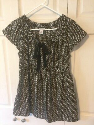 Motherhood Maternity Top Blouse Shirt M Black White Bow Short Sleeve Dressy