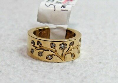 Stainless Steel Family Tree Engraved Ring  Size 5 Gold-tone