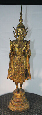 Antique 19thC Rattanakosin Kingdom Siam Thai Gold Gilt Bronze Buddha