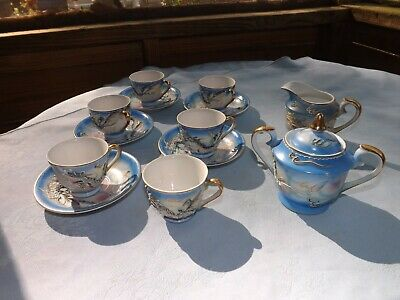 Beautiful Antique Fairyland China Tea Set Dragon  Made In Japan Trimmed In Gold