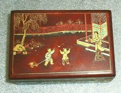 gilded  antique Chinese lacquer cigarette box