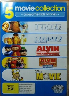 5 Movies The Simpsons Alvin And The Chipmunks 1 2 Ice Age 1 2 5 Dvd 11 10 Picclick Au