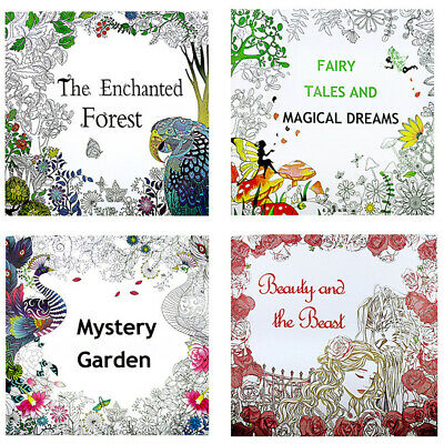 Colour Art Therapy Mind Relaxing Adult Stress Relief Coloring book Secret Garden