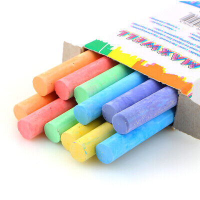 12 x Mixed Colour & White Chalk Sticks Pack Kids Playground School Art Learning