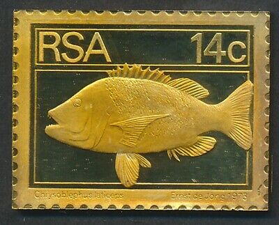 South Africa: 1973 14c Fish - Roman Seabream 32g Gilt Proof 925 Silver Stamp