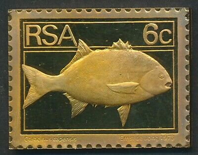South Africa: 1973 6c National Fish - Galjoen 32g Gilt Proof 925 Silver Stamp
