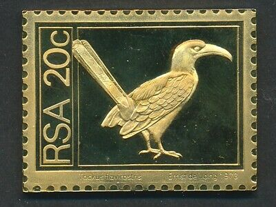 South Africa: 1973 20c  Eastern yellow-billed hornbill 30g Gilt 925 Silver Stamp