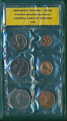Ireland 1971 1/2p to 50p First Official Polished Specimen Decimal Coin Set