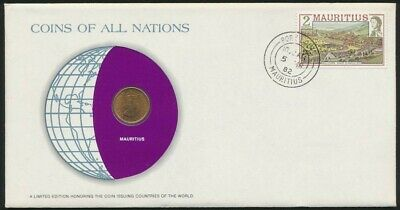 Mauritius 1982 PNC with a 1975 1 Cent Coins of all Nations