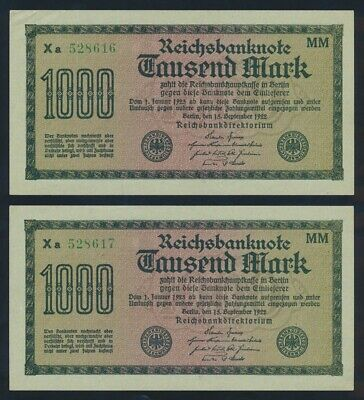 """Germany: Weimar 1922 1000 Mark """"CONSECUTIVE PAIR"""". P76h GEF to AU - Cat UNC $32"""