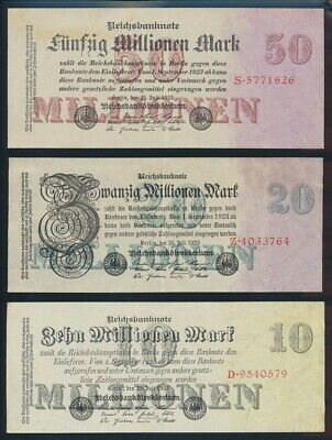 """Germany: Weimar 1923 10 to 50 Million Mark """"SET OF 3"""". P96-98a GEF - Cat UNC $87"""