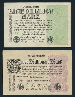 Germany: Weimar 1923 1 & 2 Million Mk. P102a-104a VF to EF - Cat UNC $24, VF $12